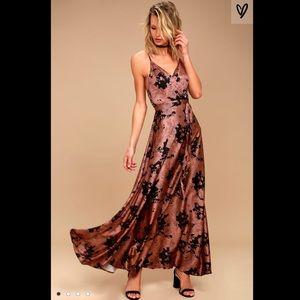 Floor length satin Lulu's gown
